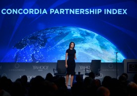 NEW YORK, NY - OCTOBER 01:  Director of Research at Concordia Natalie Pregibon speaks on stage during the 2015 Concordia Summit at Grand Hyatt New York on October 1, 2015 in New York City.  (Photo by Leigh Vogel/Getty Images for Concordia Summit)