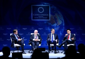 NEW YORK, NY - OCTOBER 02:  Chairman and Co-Founder of Concordia Matthew Swift, Senior Advisor for Teneo Strategy Ed Rollins, Managing Director and Vice Chairman of Morgan Stanley Tom Nides and director of Domestic Policy Studies and lecturer in the Public Policy Program at Stanford University Lanhee J. Chen speak on stage during the 2015 Concordia Summit at Grand Hyatt New York on October 2, 2015 in New York City.  (Photo by Leigh Vogel/Getty Images for Concordia Summit)