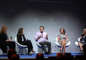 NEW YORK, NY - SEPTEMBER 19:  Senior Vice President, Values Aligned Business at Etsy Heather Jassy, SVP of Talent, Rewards and People Analytics, Hilton Worldwide Laura Fuentes, Foursquare CEO Jeff Glueck, Member of the United States of House of Representatives from New York Kathleen Rice and CNN Digital Correspondent and Editor-at-Large Kelly Wallace speak at the 2016 Concordia Summit - Day 1 at Grand Hyatt New York on September 19, 2016 in New York City.  (Photo by Ben Hider/Getty Images for Concordia Summit) *** Local Caption *** Jeff Glueck;Heather Jassy, Kathleen Rice;Laura Fuentes;Kelly Wallace
