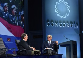 NEW YORK, NY - SEPTEMBER 19:  Arizona State University, President Dr. Michael Crow and NBC News Special Correspondent Tom Brokaw speak at the 2016 Concordia Summit - Day 1 at Grand Hyatt New York on September 19, 2016 in New York City.  (Photo by Bryan Bedder/Getty Images for Concordia Summit) *** Local Caption *** Michael Crow;Tom Brokaw