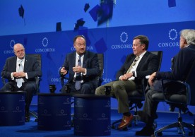 NEW YORK, NY - SEPTEMBER 19:  Miami-Dade College President Dr. Eduardo Padron, Georgetown University President Dr. John DeGioia, Arizona State University, President Dr. Michael Crow and NBC News Special Correspondent Tom Brokaw speak at the 2016 Concordia Summit - Day 1 at Grand Hyatt New York on September 19, 2016 in New York City.  (Photo by Bryan Bedder/Getty Images for Concordia Summit) *** Local Caption *** Eduardo Padron;John DeGioia;Michael Crow;Tom Brokaw