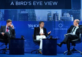 NEW YORK, NY - SEPTEMBER 19: Vice Chairman, Blackstone John Studzinski, Founder & President, The Eurasia Group Dr. Ian Bremmer and Editor-in-Chief, Yahoo! Finance Andy Serwer speak at the 2016 Concordia Summit - Day 1 at Grand Hyatt New York on September 19, 2016 in New York City.  (Photo by Riccardo Savi/Getty Images for Concordia Summit) *** Local Caption *** Ian Bremmer;John Studzinski;Andy Serwer