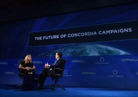 NEW YORK, NY - SEPTEMBER 20:  Member, Concordia Board of Directors Sue Ann Arnall and Co-Founder, Chairman, & CEO of Concordia Matthew Swift speak at the 2016 Concordia Summit - Day 2 at Grand Hyatt New York on September 20, 2016 in New York City.  (Photo by Bryan Bedder/Getty Images for Concordia Summit) *** Local Caption *** Sue Ann Arnall;Matthew Swift