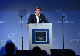 NEW YORK, NY - SEPTEMBER 20:  Prime Minister, The Hellenic Republic H.E. Alexis Tsipras attends 2016 Concordia Summit - Day 2 at Grand Hyatt New York on September 20, 2016 in New York City.  (Photo by Bryan Bedder/Getty Images for Concordia Summit) *** Local Caption *** Alexis Tsipras