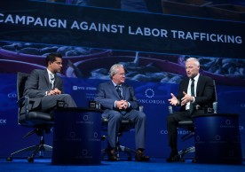 NEW YORK, NY - SEPTEMBER 20: Chair, World Economic Forum Oceans Council Nishan Degnarain, Founder & Principal, Transparentem Ben Skinner, President, Oceans 8 Films Jon Bowermaster and  Founder & Principal, Transparentem Ben Skinnerattends 2016 Concordia Summit - Day 2 at Grand Hyatt New York on September 20, 2016 in New York City.  (Photo by Riccardo Savi/Getty Images for Concordia Summit) *** Local Caption *** Jon Bowermaster;Nishan Degnarain;Ben Skinner