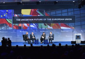 NEW YORK, NY - SEPTEMBER 20:  (L-R) CEO & Founder, Jones Group International Gen. (Ret.) James L. Jones, Prime Minister, Republic of Malta H.E. Joseph Muscat, Vice-President for Budget and Human Resources, European Commission Kristalina Georgieva and President & CEO, Atlantic Council Frederick Kempe speak at the 2016 Concordia Summit - Day 2 at Grand Hyatt New York on September 20, 2016 in New York City.  (Photo by Bryan Bedder/Getty Images for Concordia Summit) *** Local Caption *** Frederick Kempe;James L. Jones;Joseph Muscat;Kristalina Georgieva