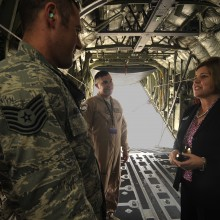 Ms. Heidi Grant greets a C130J crew supporting the 2013 Dubai Airshow at the Dubai World Central airport in Jebel Ali, Nov. 18, 2013. All U.S. military assets participating in the Airshow are deployed within the region. Grant is the Deputy Undersecretary of the Air Force for International Affairs. The C-130 crew is part of a total force integration unit deployed from Keesler Air Force Base, Miss. (U.S. Air Force photo/Senior Airman Bahja J. Jones)