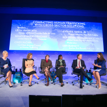 Panelists discuss cross-sector solutions to human trafficking at the 2014 Concordia Summit.