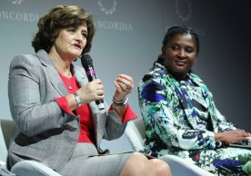 NEW YORK, NY - SEPTEMBER 20: Chair of Omnia Strategy LLP & Founder of The Cherie Blair Foundation for Women Cherie Blair and First Lady, Republic of Namibia H.E. Monica Geingos speak at the 2016 Concordia Summit - Day 2 at Grand Hyatt New York on September 20, 2016 in New York City.  (Photo by Paul Morigi/Getty Images for Concordia Summit) *** Local Caption *** Monica Geingos;Cherie Blair