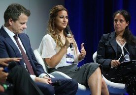 NEW YORK, NY - SEPTEMBER 20: Managing Director, Abraaj Group Frederic Sicre, Founder & CEO, Helm Foundation Amena El-Saie and Co-Founder and President, RISE Egypt Mona Mowafi speak at the 2016 Concordia Summit - Day 2 at Grand Hyatt New York on September 20, 2016 in New York City.  (Photo by Paul Morigi/Getty Images for Concordia Summit) *** Local Caption *** Frederic Sicre;Amena El-Saie;Mona Mowafi