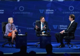 NEW YORK, NY - SEPTEMBER 19:  (L-R) Director, President and CEO of The Woodrow Wilson Center Hon. Jane Harman, Former Director, Central Intelligence Agency Gen. (Ret.) David H. Petraeus and International Editor of Time Magazine Bryan Walsh speak at the 2016 Concordia Summit - Day 1 at Grand Hyatt New York on September 19, 2016 in New York City.  (Photo by Bryan Bedder/Getty Images for Concordia Summit) *** Local Caption *** David H. Petraeus;Jane Harmon;Bryan Walsh