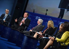 NEW YORK, NY - SEPTEMBER 19:  (L-R) Tomicah Tillemann, Terry Tamminen, Scott Kalb, Fiona Reynolds, Afsaneh M. Beschloss and Rana Foroohar speak at the 2016 Concordia Summit - Day 1 at Grand Hyatt New York on September 19, 2016 in New York City.  (Photo by Bryan Bedder/Getty Images for Concordia Summit) *** Local Caption *** Tomicah Tillemann;Terry Tamminen;Scott Kalb;Fiona Reynolds;Afsaneh M. Beschloss;Rana Foroohar
