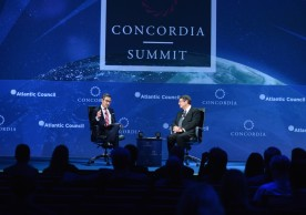 NEW YORK, NY - SEPTEMBER 19:  Atlantic Council Executive Vice President Damon Wilson and the President of Cyprus Nicos Anastasiades speak at the 2016 Concordia Summit - Day 1 at Grand Hyatt New York on September 19, 2016 in New York City.  (Photo by Riccardo Savi/Getty Images for Concordia Summit) *** Local Caption *** Nicos Anastasiades;Damon Wilson