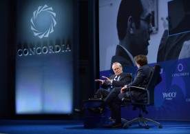 NEW YORK, NY - SEPTEMBER 20:  Former Secretary of Defense Donald Rumsfeld and Chairman, & CEO Matthew A. Swift speak at the 2016 Concordia Summit - Day 2 at Grand Hyatt New York on September 20, 2016 in New York City.  (Photo by Bryan Bedder/Getty Images for Concordia Summit) *** Local Caption *** Donald Rumsfeld;Matthew A. Swift