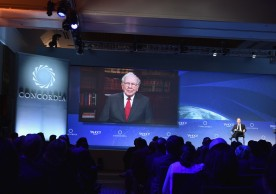NEW YORK, NY - SEPTEMBER 20:  Chief Executive Officer,Berkshire Hathaway Inc. Warren Buffett attends via video to the 2016 Concordia Summit - Day 2 at Grand Hyatt New York on September 20, 2016 in New York City.  (Photo by Bryan Bedder/Getty Images for Concordia Summit) *** Local Caption *** Warren Buffett