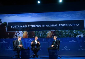 NEW YORK, NY - SEPTEMBER 20:  Chairman and chief executive officer, Cargill David MacLennan, CEO, Danone Emmanuel Faber and Co-Founder and President of Farm Sanctuary Gene Baur speak at the 2016 Concordia Summit - Day 2 at Grand Hyatt New York on September 20, 2016 in New York City.  (Photo by Riccardo Savi/Getty Images for Concordia Summit) *** Local Caption *** David MacLennan;Emmanuel Faber;Gene Baur