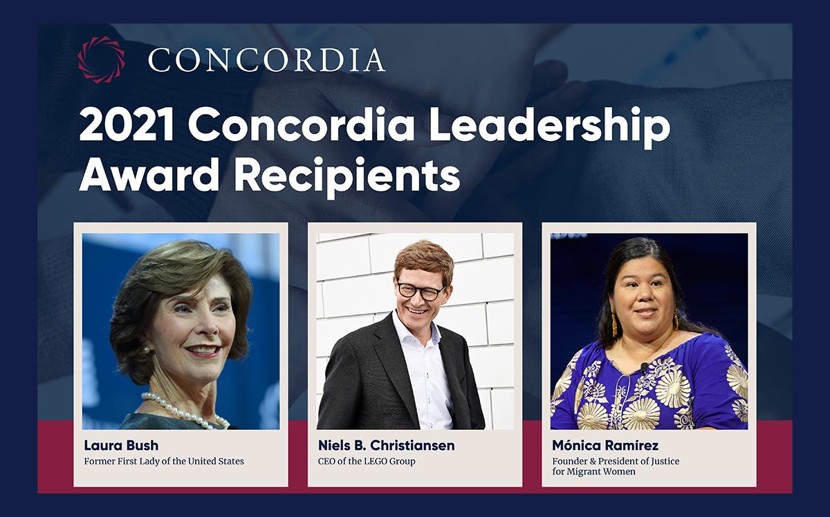 This image shows Laura Bush, Niels B. Christiansen, and Mónica Ramírez, recipients of the 2021 Concordia Leadership Award